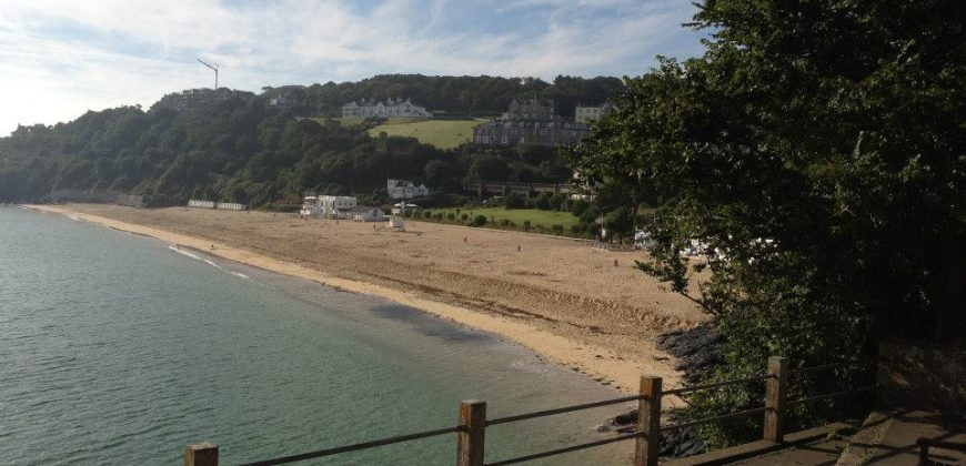St Ives beach taken from an outcropping, with old houses in the background surrounded by trees and fields