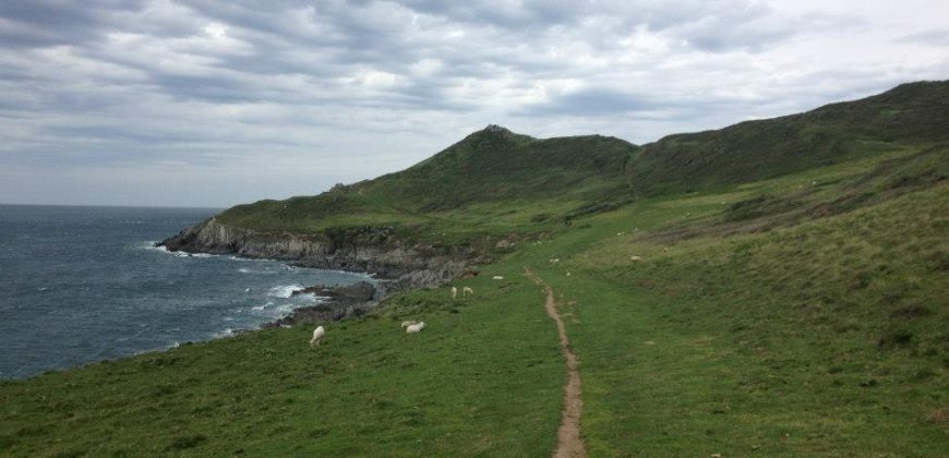 The coastal path from Woolacombe to Mortehoe, green hills, a tiny mud path and moody cloudy skies with the sea breaking against a rocky shoreline