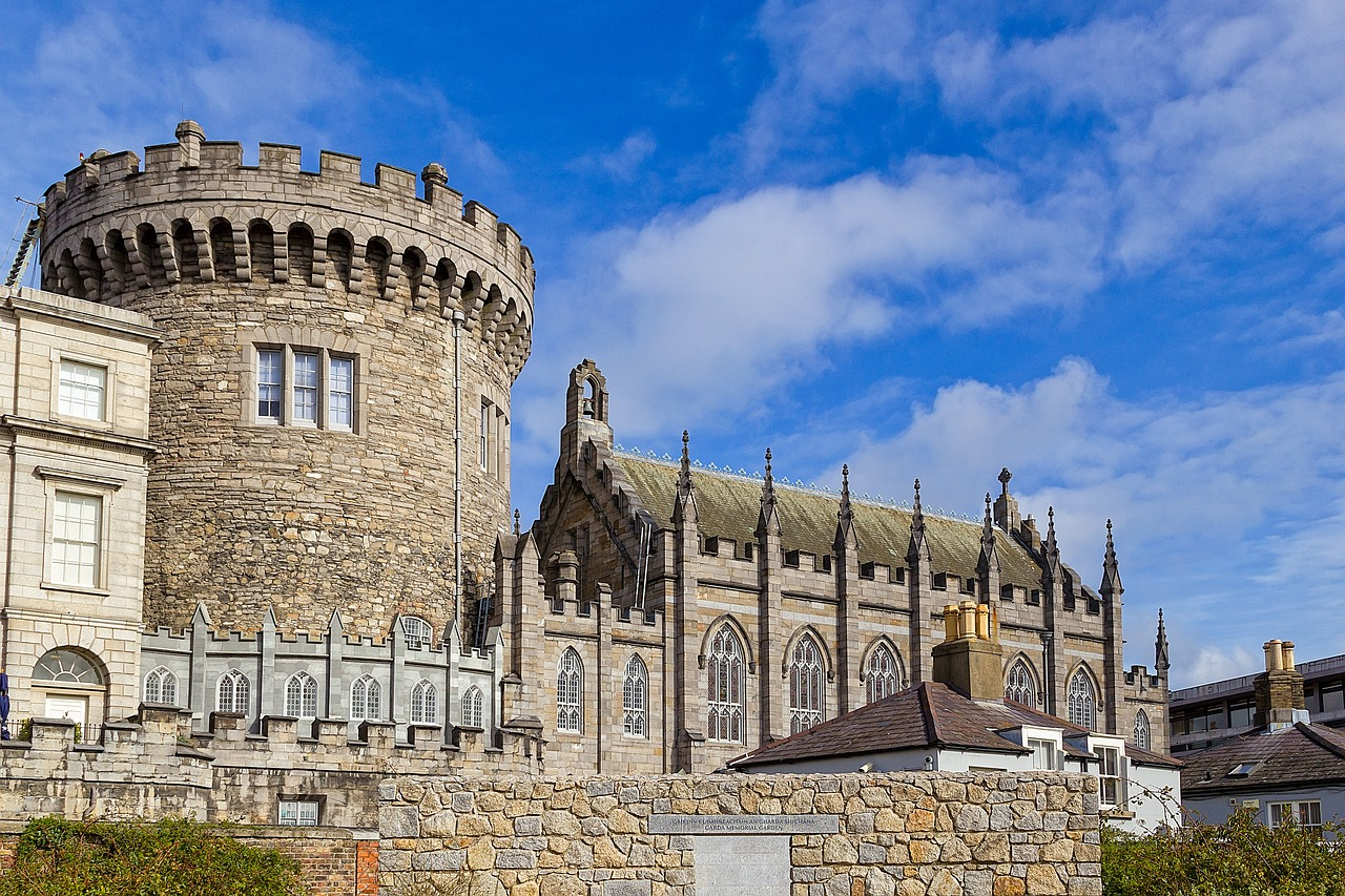 Dublin Castle, a large turret and chapel set against a blue sky