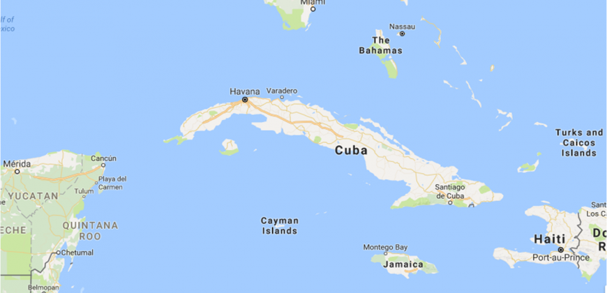 Map showing the location of the Cayman Islands south of Cuba and North West of Jamaica
