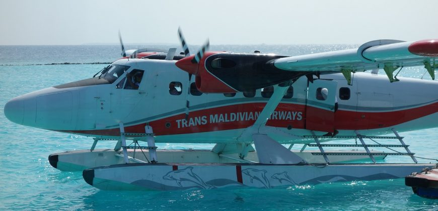 The seaplane docking at the resort