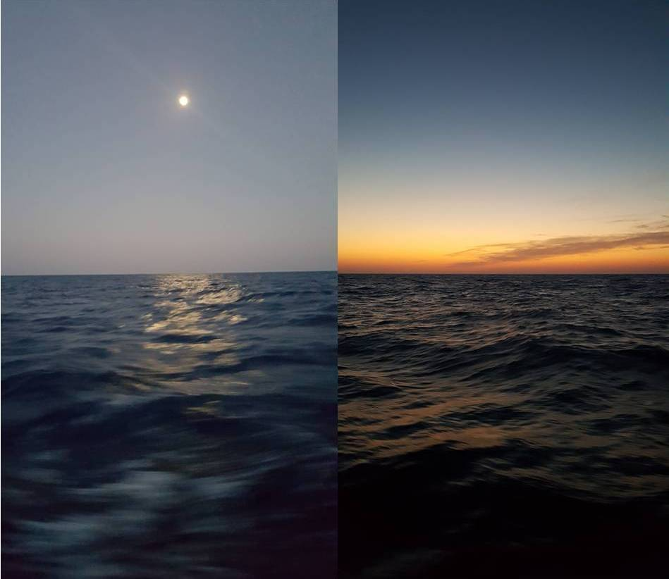 Twin shots taken from the boat at sunset, to port is a dark blue sea with a pink and blue sky and the moon, to starboard is a black sea with orange sunset and wispy clouds