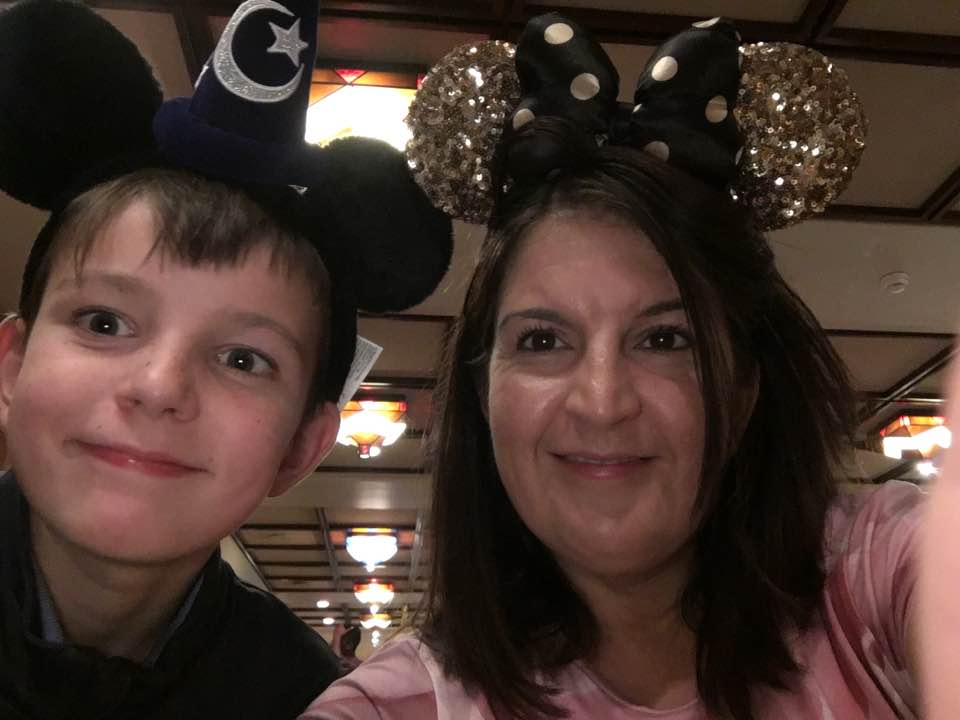 Guest blogger Leigh and her eldest son Ryan, wearing their Disney ears
