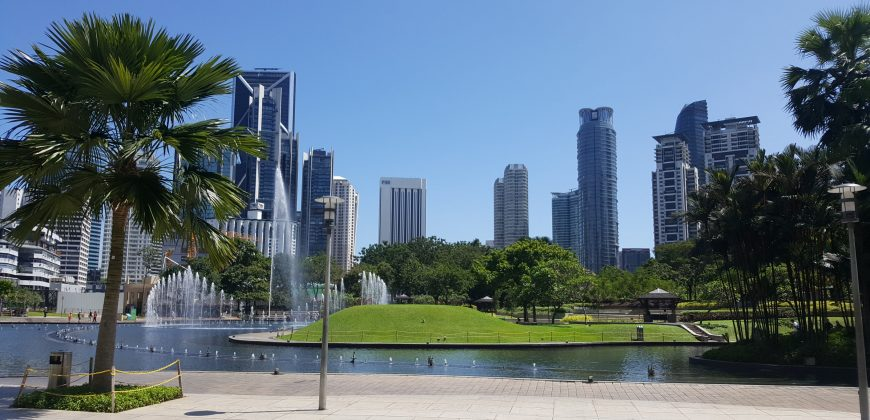 Gardens and water fountains, with a palm tree in the foreground and skyscrapers in the background, by the base of the Petronas Towers