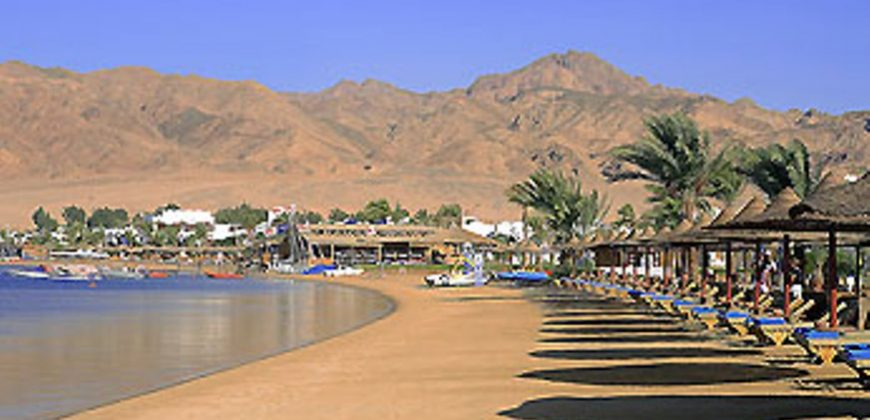 A light orange sandy beach bordered by wooden beach shades and sunloungers, with mountains in the background