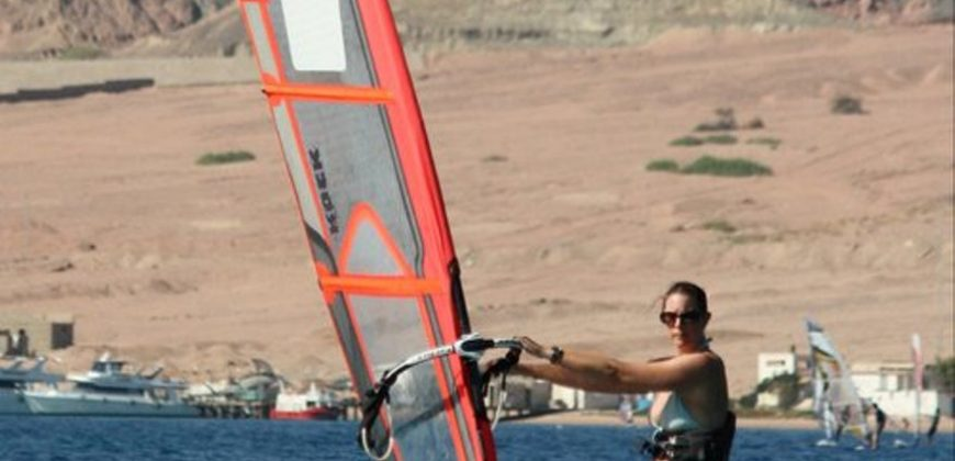 Me windsurfing in the bay