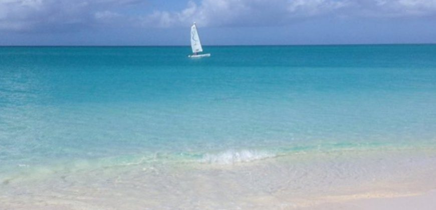 A view from a white sand beach, across gently lapping light aqua water with a catamaran in the distance, and blue skies with pretty white clouds