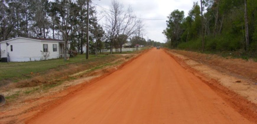 Dark orange dirty roads with trees and rough wooden shacks at the side