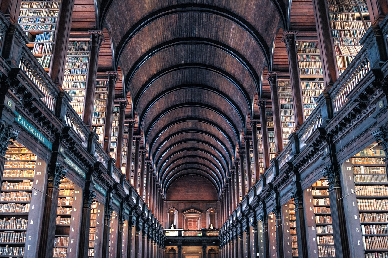 Trinity College Library, two floors of rows and rows of old books, with a passageway in the middle over which is a huge arched ceiling. The library is made of old dark wood, you can almost smell the books!