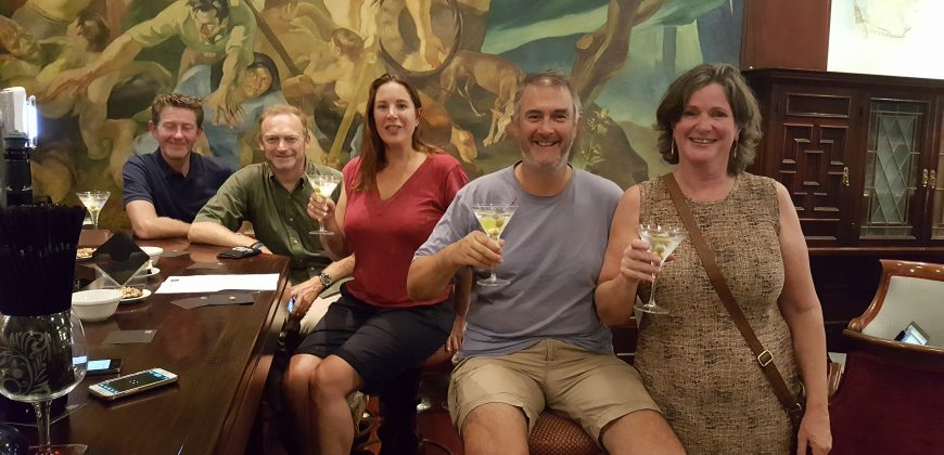 Crew shot taken in the Santa Catalina hotel bar, we are all holding gin martinis and smiling