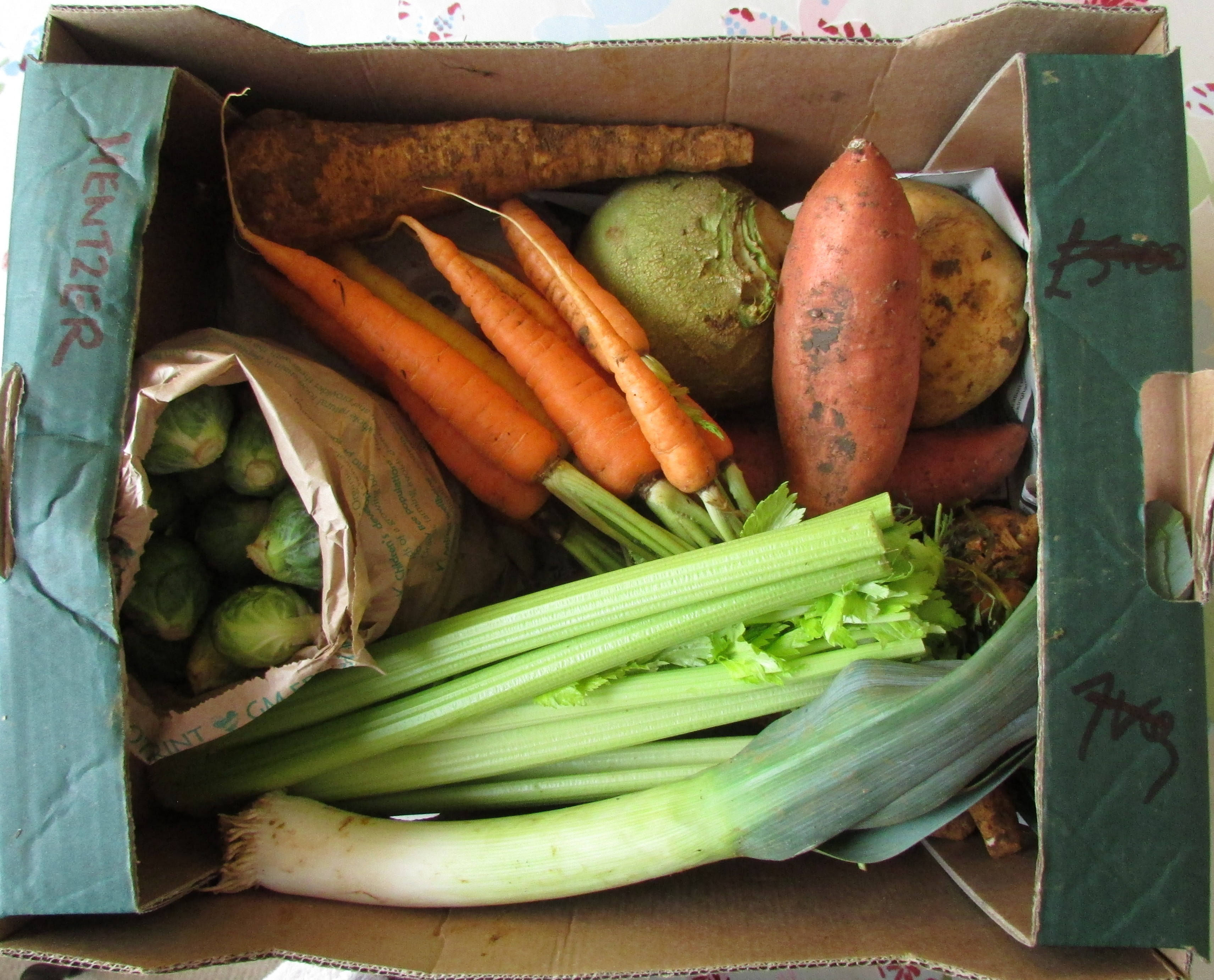 A sample veg box with sprouts, celery, carrots, sweet potato, parsnip, swede, leek and potato