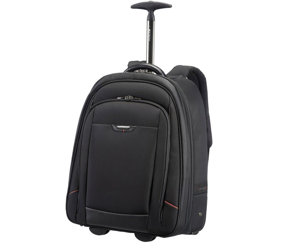 Samsonite wheely backpack. A black backpack with pull up handle and several pockets