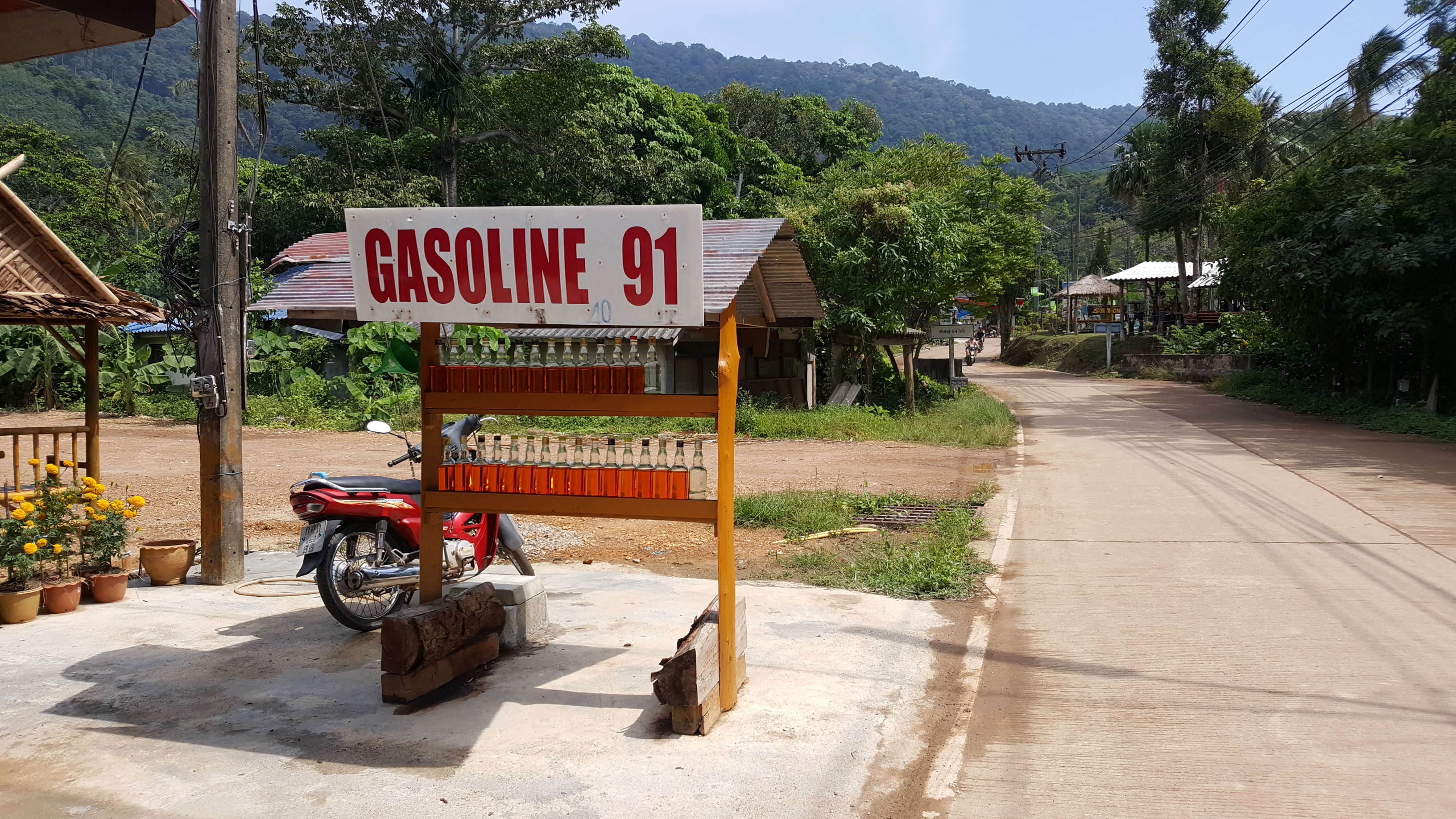 A small wooden shelving unit stands by the roadside with 'Gasoline 91' on a sign. Two rows of amber gasoline are displayed. in the background are lush green trees, the beginning of the rainforest